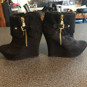 G by guess black winter wedge boot
